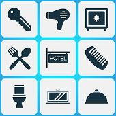 Hotel Icons Set With Hotel Sign, Key, Hairdryer And Other Restaurant Elements. Isolated Vector Illus poster