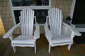 Adirondack  Beach Chairs On Porch
