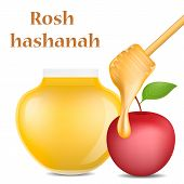 Rosh Hashanah Jewish Religion Concept Background. Realistic Illustration Of Rosh Hashanah Jewish Rel poster