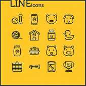 Vector Illustration Of 16 Fauna Icons Line Style. Editable Set Of Pet Food, Pet Medicine, Pet Toys A poster