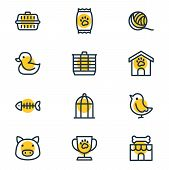 Illustration Of 12 Pet Icons Line Style. Editable Set Of Clew, Kibble, Duck And Other Icon Elements. poster