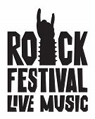 Music Banner With Rock Hand Sign Silhouette And Words Rock Festival Live Music. Black And White Vect poster