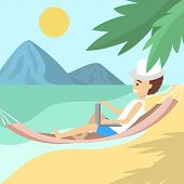 Male Freelancer In The Hammock On The Beach poster