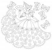 Black And White Illustration Of Princess For Coloring. Developing Children Skills For Drawing. Vecto poster