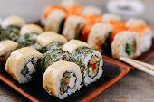 Постер, плакат: Japanese Restaurant Menu Professional Culinary Traditional Meals Healthy Food Delicious Maki Sus