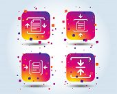 Archive File Icons. Compressed Zipped Document Signs. Data Compression Symbols. Colour Gradient Squa poster