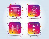 Archive File Icons. Compressed Zipped Document Signs. Data Compression Symbols. Colour Gradient Squa poster