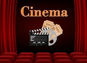 Movie Theater With Row Of Red Seats Popcorn And Tickets. Premiere Event Template. Online Cinema Art  poster