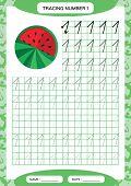 Number 1. One Tracing Worksheet. Watermelon. Preschool Worksheet, Practicing Motor Skills - Tracing  poster