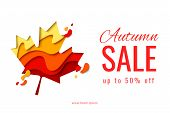 Vector Autumn Sale Background Template With Paper Cut Autumn Maple Leaf For Shopping Sale Flyer, Web poster