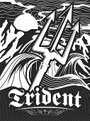 Vector Retro Stencil Illustration Of Trident And Extreme Violent Open Sea And Mountains poster