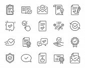 Approve Line Icons. Set Of Check List, Certificate And Award Medal Linear Icons. Certified Document, poster