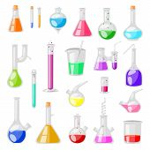 Test-tube Flask Vector Chemical Glass Test Tubes Filled With Liquid For Scientific Research Or Exper poster