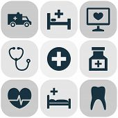 Drug Icons Set With Pulse, Medical Sign, Diagnostics And Other Rhythm Elements. Isolated Vector Illu poster