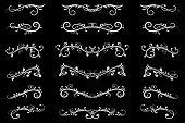 Dividers. White Filigree Floral Decorations On Black Background. Vector Illustration poster