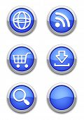 web icons with blue shiny round buttons on white. All elements are separate. File is layered.