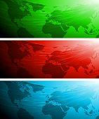 Постер, плакат: Набор векторных баннеров с карты мира EPS 10