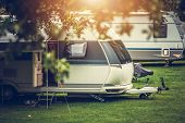 Recreational Vehicle Camping. Vacation In A Travel Trailer. Rv Theme. poster