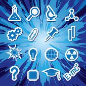 Vector illustration of icons on the topic of science