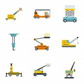 Construction Machinery Icons Set. Cartoon Set Of 9 Construction Machinery Icons For Web Isolated On  poster