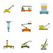 Construction Machinery Icons Set. Cartoon Set Of 9 Construction Machinery Icons For Web Isolated On  poster