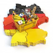 Market basket or consumer price index in Germany. Shopping basket with foods on the map of Germany.. poster