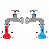 Water Tap With Cold And Hot Water. Vector Illustration Of A Faucet Flowing Cold And Hot Water. Hand  poster