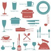 Kitchen icons set. Illustration vector