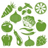 Foodstuff green icons set. Illustration vector.
