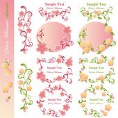 Cherry blossoms design elements. Illustration vector.