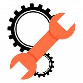 Gears Icon. Vector Illustration Gear Of Gears. Background Linked Colored Gears. Wrench With Gear Whe poster