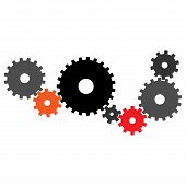 Gears. Vector Gear Of Gears. Background Linked Colored Gears. poster