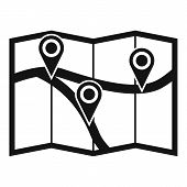 Map With Pin Pointers Icon. Simple Illustration Of Map With Pin Pointers Icon For Web poster