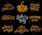 Happy Halloween Lettering Calligraphy For Greeting Cards Design. Vector Halloween Trick And Treat Pa poster
