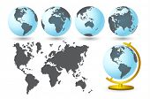 World map with globes set, vector illustration