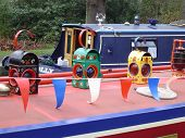 Canal boat decorated.