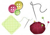 Sewing accessories, needles, pins, buttons and pin cushion