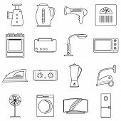 Household Appliances Icons Set. Outline Illustration Of 16 Household Appliances Icons For Web poster