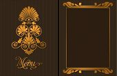 Luxury restaurant menu, with gold decorative elements, vector illustration
