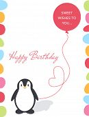 Illustration of a birthday card with a cute penguin and balloon