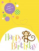 Illustration of a birthday card with a cute monkey and balloon