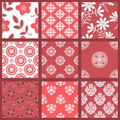 Floral Seamless Backgrounds. All design are seamless and