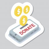 Donate Button With Smartphone And Dollar Sign. Help Red Green Sticker. Gift Charity. Isolated Suppor poster