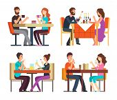 Couples Table. Man, Woman Having Coffee And Dinner. Conversation Between Guys In Restaurant. Vector  poster
