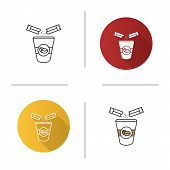 Adding Sugar To Coffee Icon. Disposable Coffee Cup And Sugar Sachet. Flat Design, Linear And Color S poster