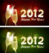 stock photo of champagne glass  - Happy new year 2012 banner - JPG