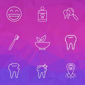 Tooth Icons Line Style Set With Clean Tooth, Dentist Location, Hole In Tooth And Other Cleaned Eleme poster