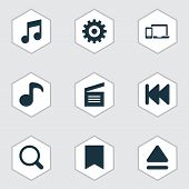 Multimedia Icons Set With Previous, Movie Clap, Gadget And Other Top Elements. Isolated  Illustratio poster