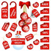 Set of christmas price tags and labels. Vector eps10 illustration