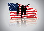 Vector Illustration of a man winning a race in front of waving american flag. eps10